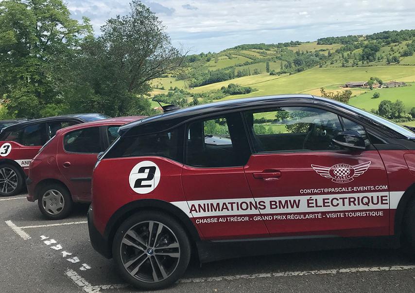Chasse au trésor voitures électriques paysages