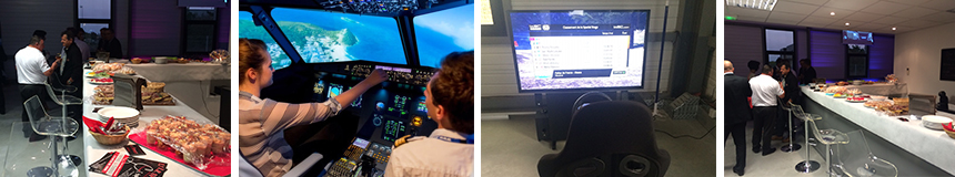 Soiree evenementielle simulateur airbus a320 avec cocktail