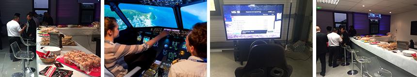 Soiree evenementielle simulateur airbus a320 avec cocktail