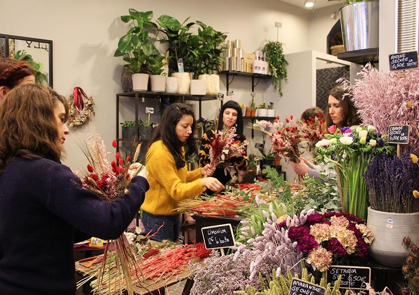 Team building vegetal fleurs séchées